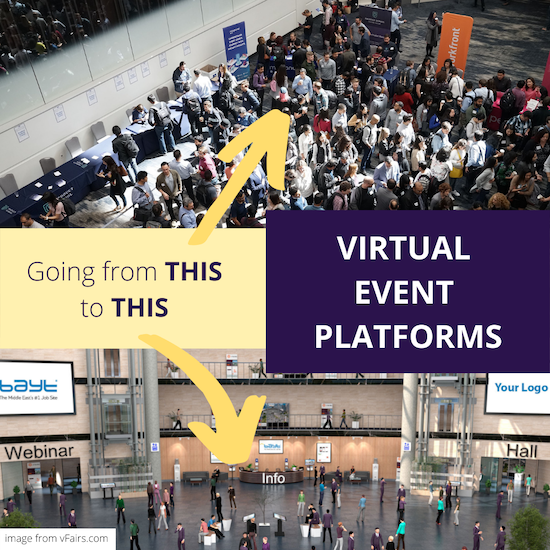 "Image comparing in-person vs. virtual event, with text that reads, ""Virtual Event Platforms, going from this to this"""